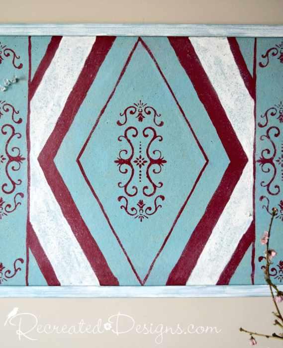 adding a geometrical pattern to an old cork board