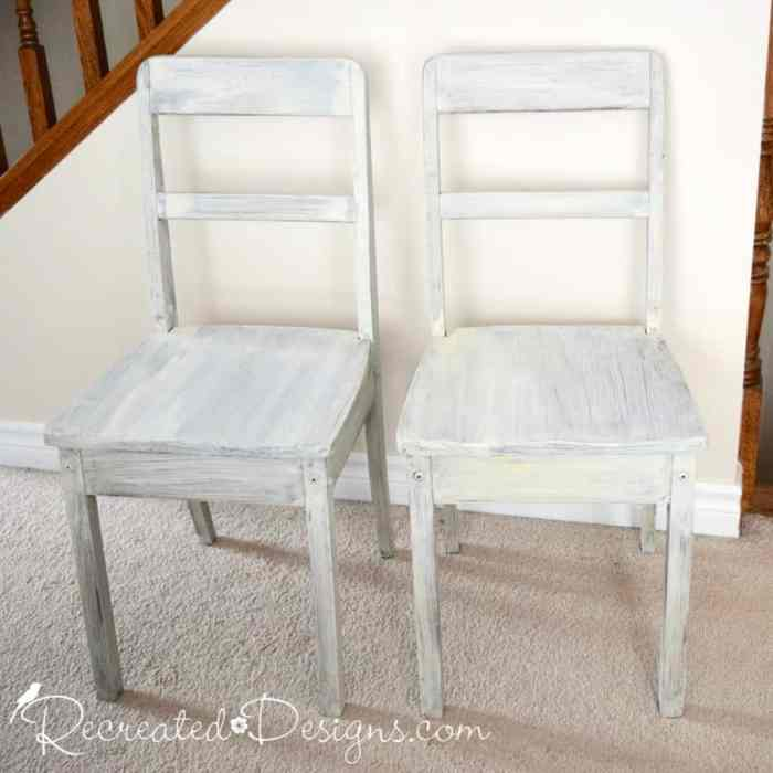 wood chairs with one coat of milk paint