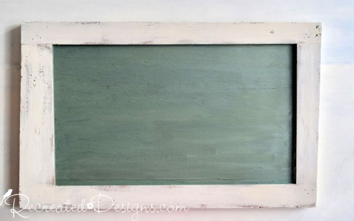 vintage looking chalk board made using Miss Mustard Seed's Milk Paint