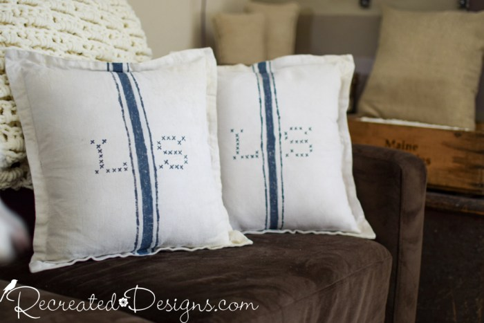 grain sack stripes and monograms on pillow covers