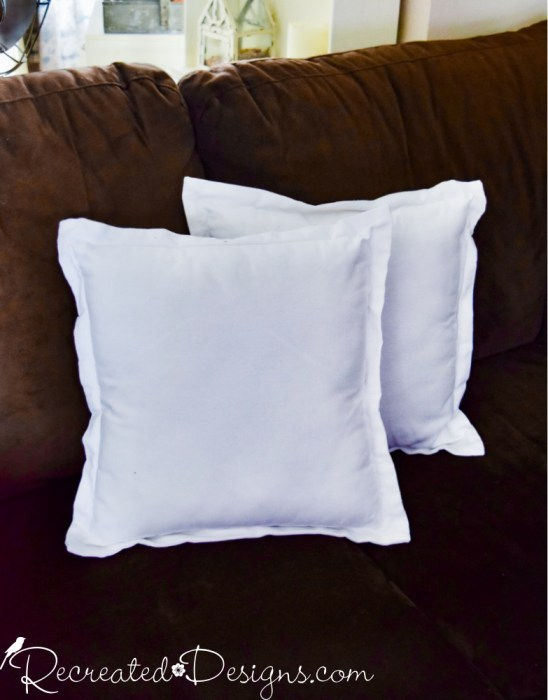 white pillows before dying with milk paint
