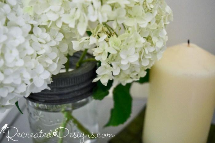 Hydrangeas in a vintage Mason Jar