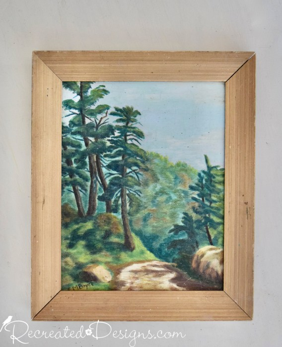 old forest painting done on wood from 1948