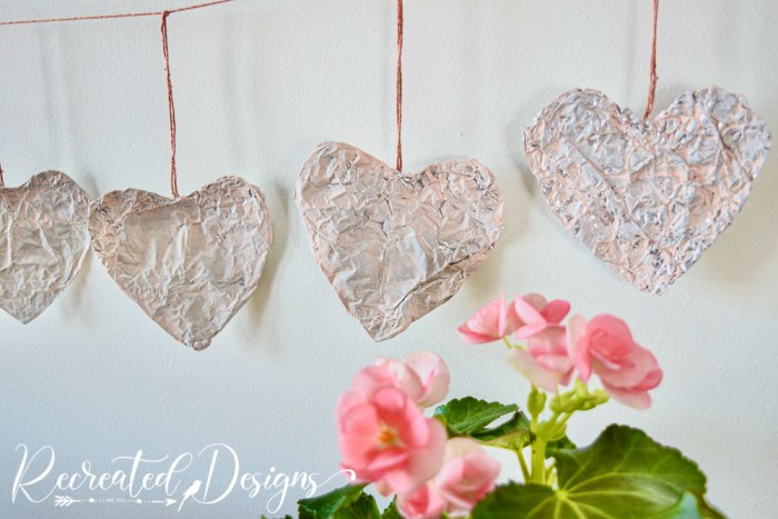 tinfoil hearts painted pink