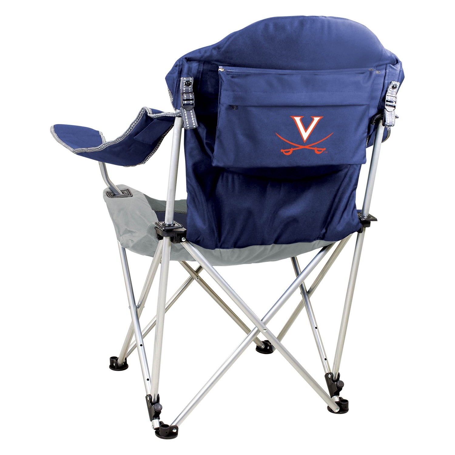 fishing chair add ons client office chairs picnic time® 803-00-138-594-0 - reclining virginia cavaliers navy camp recreationid.com