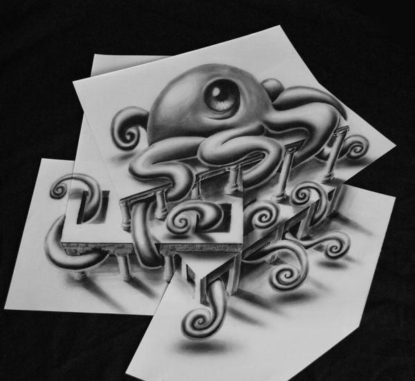 Impresionare Dibujos Efecto 3d En Simples Hojas De Papel