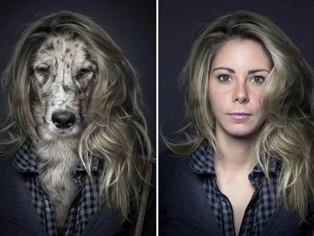 mujer y perro con saco