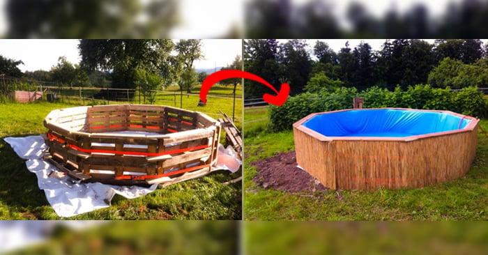 Procedimiento para construir una piscina hecha con palets