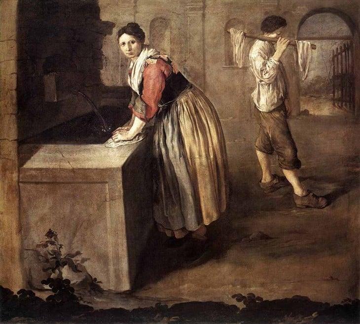 las lavanderas lavaban con orina sus ropas para quitar manchas y grasa