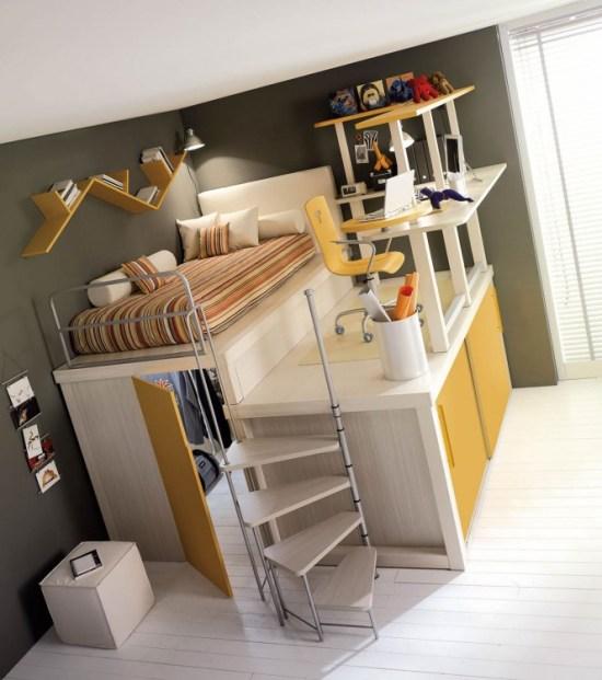 Espacio tres en uno de dormitorio, guardarropa y estudio