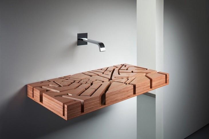 lavabo de baño moderno con base de madera con diseños minimalistas