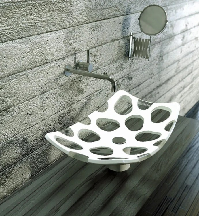 lavabo de baño con base de diseño perforado
