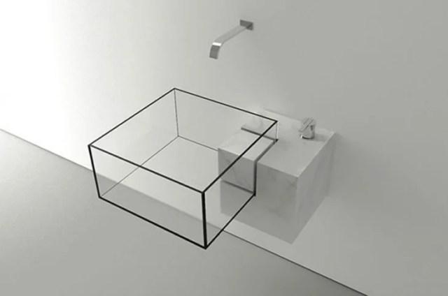 lavabo de baño en forma de un cubo de vidrio