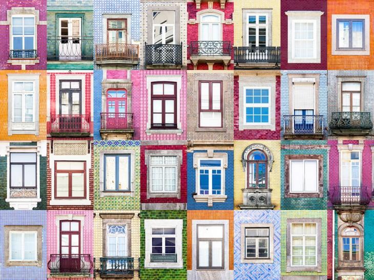 colllage muestra la arquitectura de las ventanas en Porto