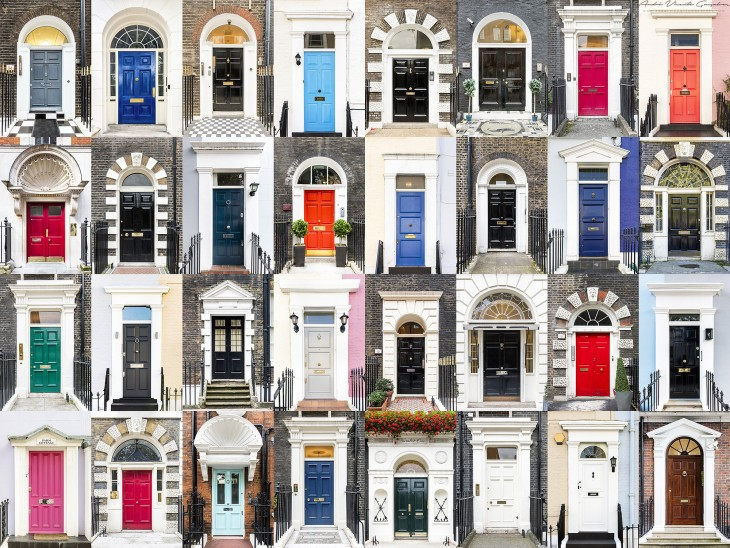 collage de fotografías de diferentes puertas y ventanas en Inglaterra por el portugués André Vicente