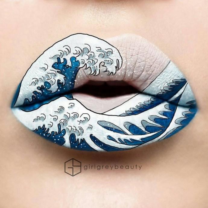 lábios com um desenho de uma onda do mar