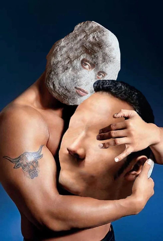Batalla de Photoshop de La roca abrazando a una roca
