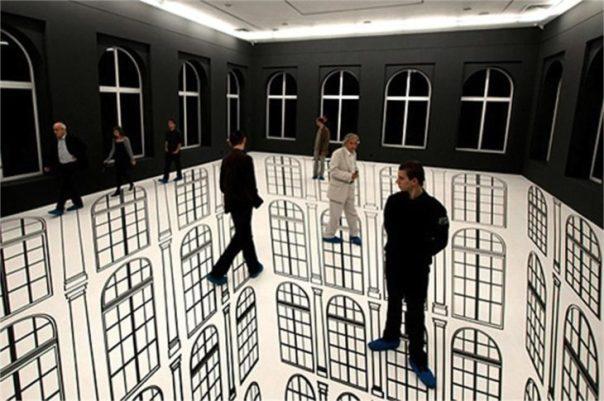 ilusión óptica, edificios arriba y abajo