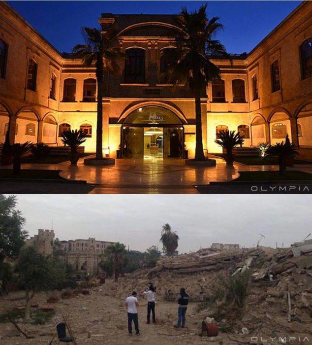 Aleppo, na Síria.  Foto de um edifício que parece ser como um hotel ou algo assim e, por outro imagem não há nada