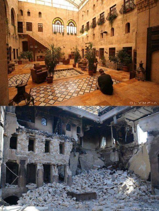 Aleppo, na Síria.  Foto do interior de um edifício antes e depois da guerra d ela