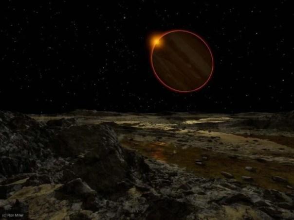Júpiter desde un halo al fondo