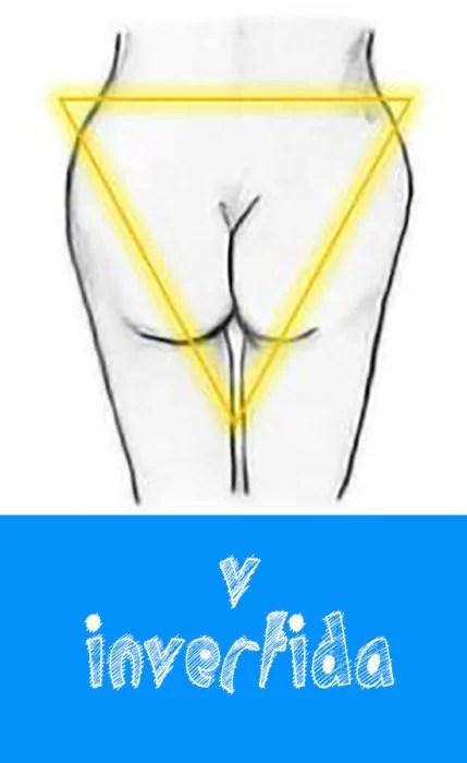 trasero en forma de triángulo invertido