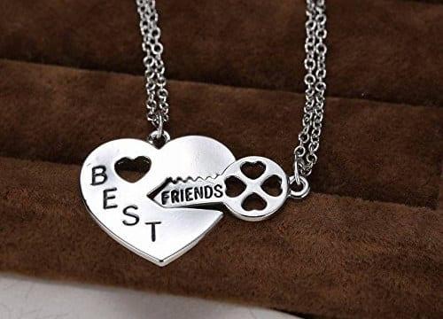 corazón con llave collares Mejores amigas
