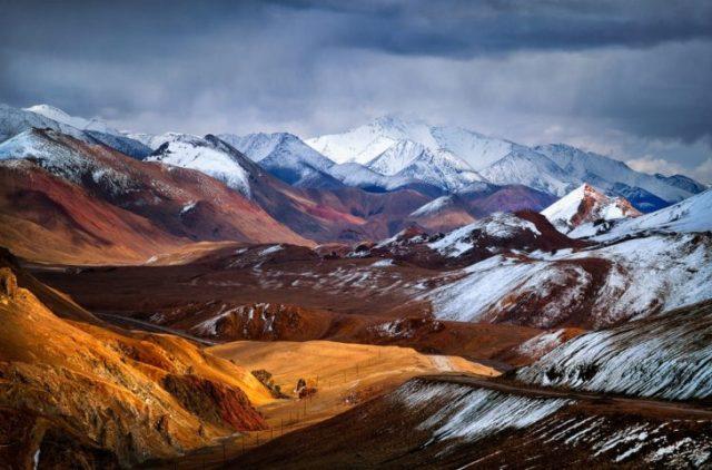 paisaje montañas nevadas