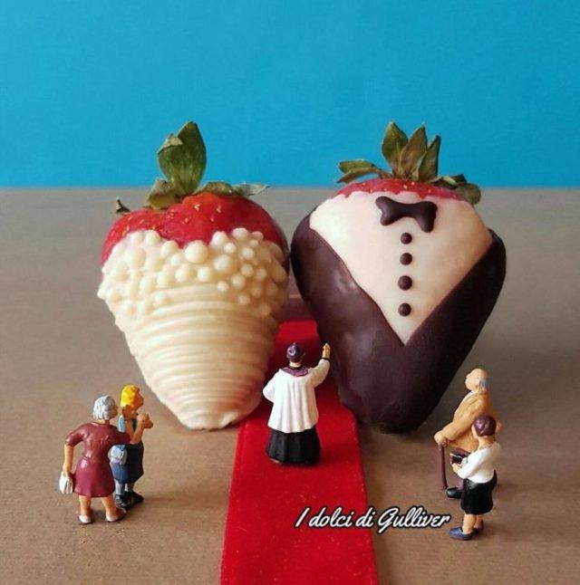 boda fresas postre miniatura italiano