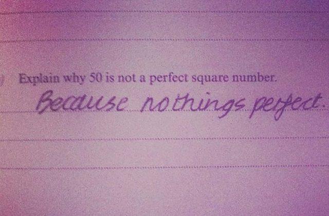 examen de Explica porque cincuenta no es un numero cuadrado perfecto