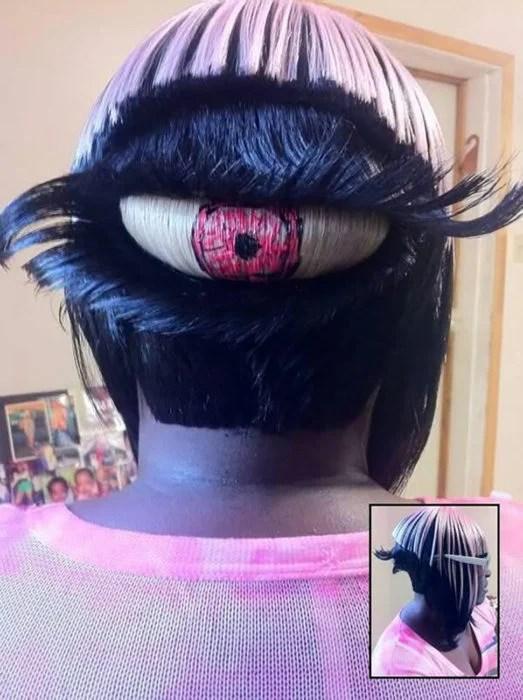 peinado y sesgo de pelo en constituye de ojo