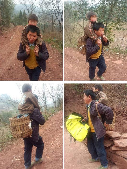 papá caminando con su hijo en hombros