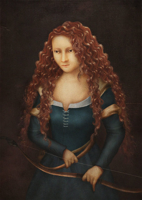 retrato renacentista princesa que se riña con mama