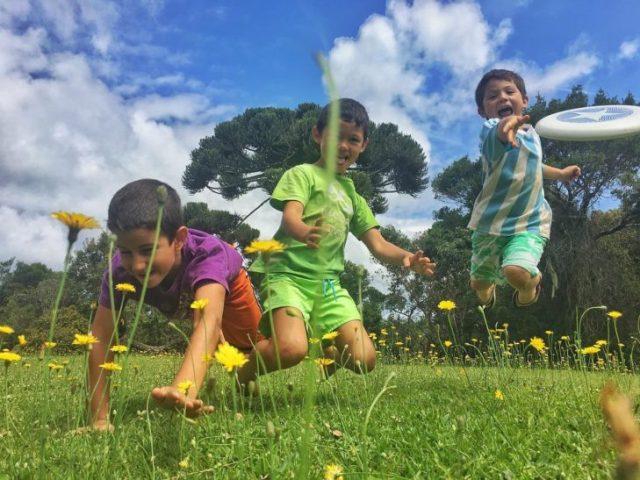 niños jugando en el pasto