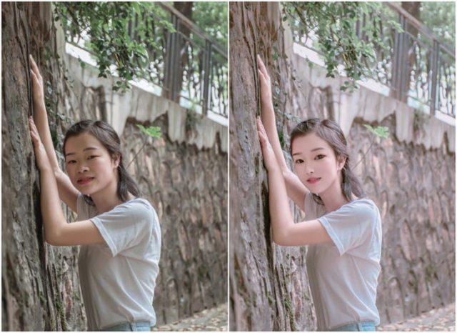 chica recargada en un árbol antes y después del photoshop