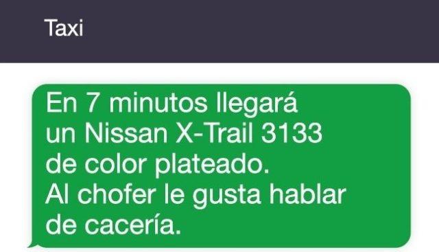 mensaje de taxi