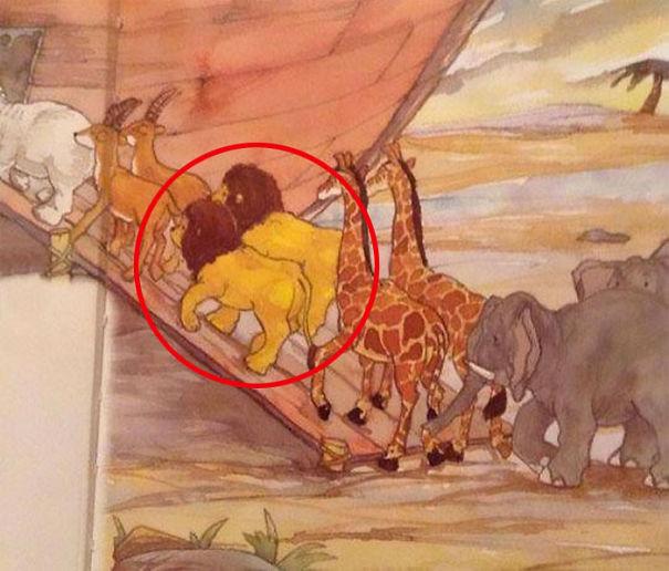 dos leones en el arca de noe