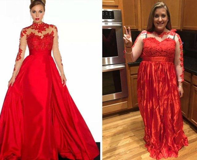 vestido rojo feo