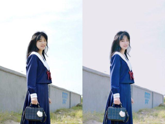colegiala asiática antes y después del photoshop