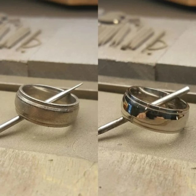 anillo plata limpia