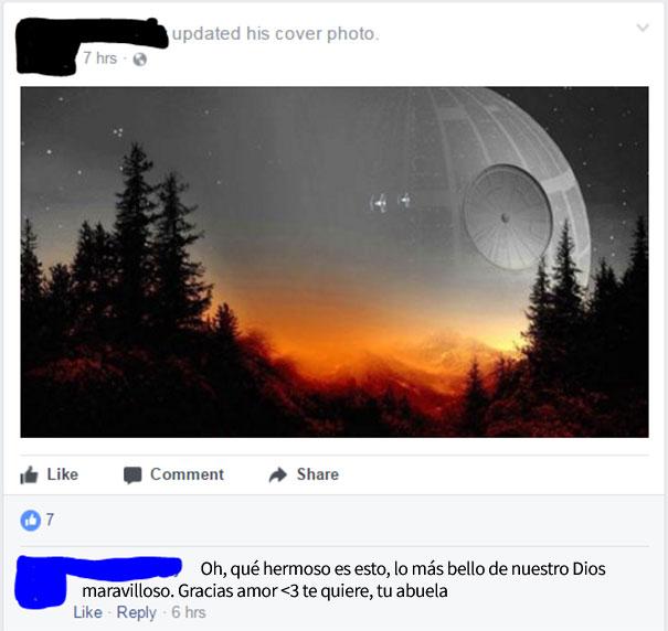 abuela coloca fotografía de portada en el face