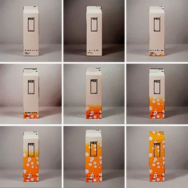 Empaque de leche que varía de diseño según se aproxima la caducidad