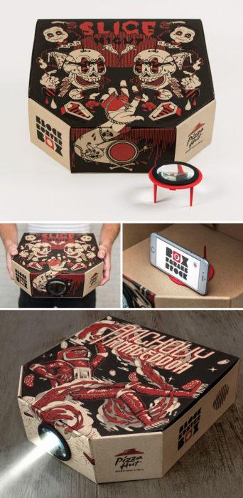 Caja de pizza que se transforma en proyector