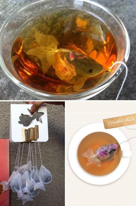 empaque de té en constituye de pez koi