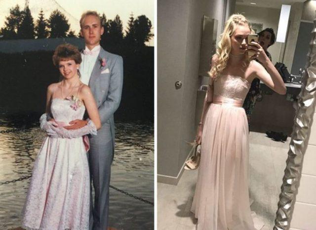 rosa El mismo vestido que su mamá utilizó en su graduación