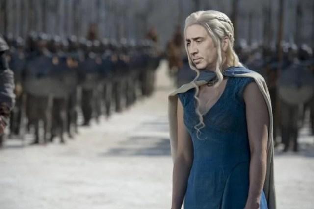 Daenerys Targaryen con la hacia de Nicolas Cage