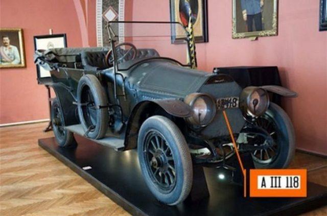 Placa del automóvil en el que fue asesinado el archiduque Franz Ferndinando