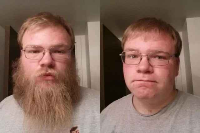 hombre con larga barba se la afeita