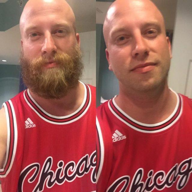 comparativa de hombre con ó sin barba
