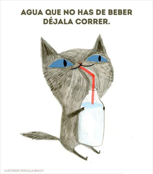 ilustración dichos agua que no has de beber
